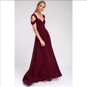 Lulus Make Me Move Burgundy Maxi Dress Small NWT